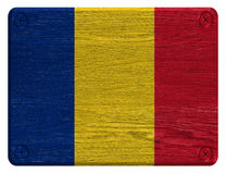 Romania flag. Painted on wooden tag Stock Photography