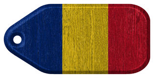 Romania flag. Painted on wooden tag Stock Photos