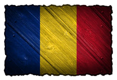 Romania flag. Painted on wooden tag Royalty Free Stock Photos