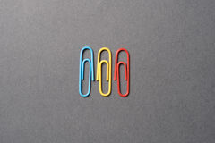 Romania flag with paperclips. Romania flag colors made with paperclips Stock Images