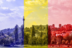 Romania flag on a picture with a city from SE Stock Photo