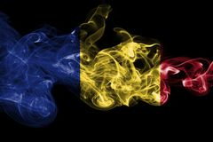 Romania flag smoke  on a black background.  Royalty Free Stock Photos