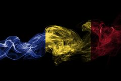 Romania flag smoke isolated on a black background.  Royalty Free Stock Photos