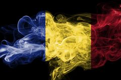 Romania flag smoke. Isolated on a black background Royalty Free Stock Photos
