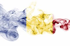Romania flag smoke isolated on a white background.  Stock Photo