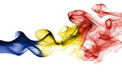 Romania flag smoke. Isolated on white background stock images