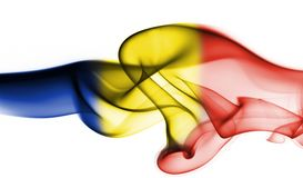 Romania flag smoke. Isolated on a white background Stock Image