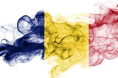 Romania flag smoke. Isolated on a white background Stock Photos