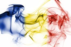 Romania flag smoke. Isolated on a white background Royalty Free Stock Images
