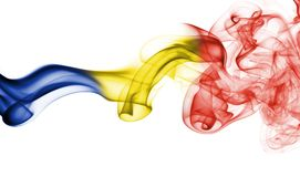 Romania flag smoke. Isolated on a white background Royalty Free Stock Image