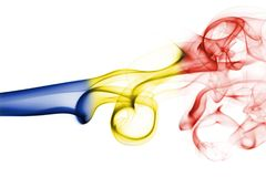 Romania flag smoke. Isolated on a white background Stock Photo