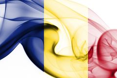 Romania flag smoke. Isolated on a white background Stock Photography