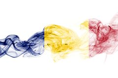 Romania flag smoke  on a white background.  Stock Image