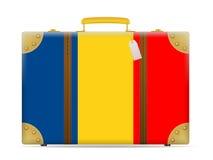 Romania flag travel suitcase Stock Photo