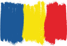 Romania Flag Vector Hand Painted with Rounded Brush Stock Photo