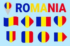 Romania flag vector set. Different geometric shapes. Flat style. Romanian flags collection. For sports, national, travel royalty free illustration