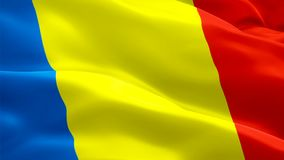 Romania flag video waving in wind. Realistic Romanian Flag background. Romania Flag Looping Closeup 1080p Full HD 1920X1080 footag