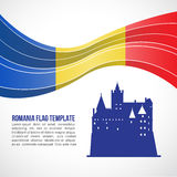 Romania flag wave and Bran Castle in Transylvania vector Template Royalty Free Stock Image