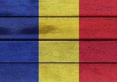 Romania flag on a wood Stock Photo