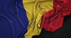Romania Flag Wrinkled On Dark Background 3D Render Stock Image
