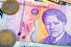 Romania Foreign Currency closeup of money International currenci. Es coin Stock Photos