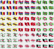 Romania, Gambia, Brazil, Brunei, Switzerland, Burundi, Ingushetia, Georgia, Kuwait. Big set of 81 flags. Royalty Free Stock Photo