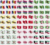 Romania, Gambia, Brazil, Brunei, Switzerland, Burundi, Ingushetia, Georgia, Kuwait. Big set of 81 flags. Royalty Free Stock Photo