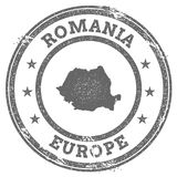 Romania grunge rubber stamp map and text. Round textured country stamp with map outline. Vector illustration Royalty Free Stock Image
