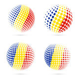 Romania halftone flag set patriotic vector design. 3D halftone sphere in Romania national flag colors isolated on white background Royalty Free Stock Image