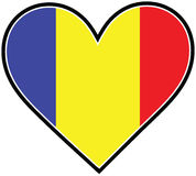 Romania Heart Flag Stock Photography