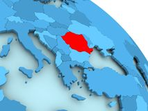 Romania on blue globe. Romania highlighted on blue 3D model of political globe. 3D illustration Royalty Free Stock Image