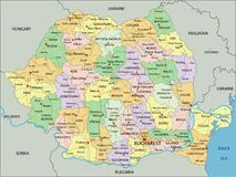 Free Romania - Highly Detailed Editable Political Map With Labeling. Stock Photo - 186533580