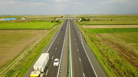 Romania A2 highway traffic aerial stock footage