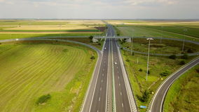 Romania A2 highway traffic aerial view stock video footage