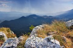 Romania hiking trail. Romania nature. Piatra Craiului National Park - hiking trail to Piatra Mica in Southern Carpathians stock images