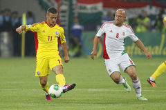 Romania - Hungary football game. Jozsef Varga (right, Hungary) and Gabriel Torje (left, Romania) pictured during Romania - Hungary FIFA World Cup qualifier Royalty Free Stock Photography
