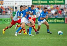 Romania and Italy battle during IRB Nations Cup Royalty Free Stock Images