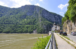 Romania,june 7:Mraconia Monastery on Danube Clisura in Romania stock photo