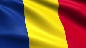 Romania Looping Flag 4K, with waving fabric texture vector illustration