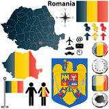 Romania map. Vector set of Romania country shape with flags, buttons and icons isolated on white background