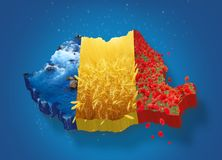 Romania map 3D Stock Images