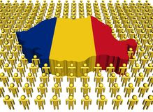Romania map flag with people Stock Image