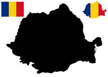 Romania map and flag vector Stock Image