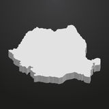 Romania map in gray on a black background 3d Royalty Free Stock Image