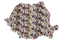 Romania map multicultural group of people integration immigration diversity. Isolated royalty free stock photography