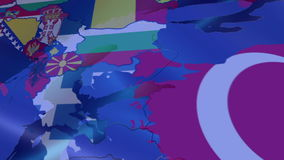 Romania. Map over Europe. Motion Graphics stock video footage