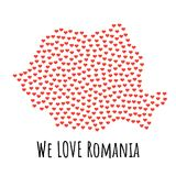 Romania Map with red hearts - symbol of love. abstract background Royalty Free Stock Images