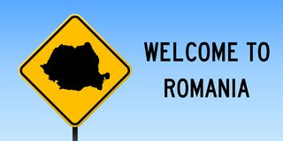 Romania map on road sign. Wide poster with Romania country map on yellow rhomb road sign. Vector illustration stock illustration