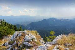 Romania mountains. Piatra Craiului National Park in Romania - hiking trail to Piatra Mica in Southern Carpathians. Limestone rocks stock photography