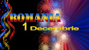 Romania National Day banner, illustration with flag colors, fireworks on black background Royalty Free Stock Photos